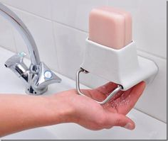 What a great idea! A bar soap shaver. Cuts down transportation cost by eliminating water from the product which takes up more space, also gets rid of needing to touch the bar of soap which spreads bacteria and feels icky.