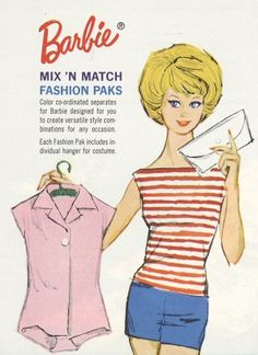 Cotton Mix & Match Group (1962-1963) This is what my first Barbie looked like.