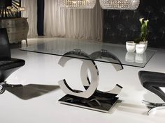 The Iconic chrome and glass rectangular dining table is the most striking addition to any interior, the ultimate statement for any dining atmosphere. Glass Dining Table, Furniture Dining Table, Decor, Dining Room Design, Glass Dining Room Table, Modern Dining Table, Dining Furniture, Glamourous Dining Room, Living Room Decor