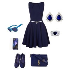 A fashion look from March 2015 featuring pocket dresses, blue shoes and leather tote bags. Browse and shop related looks. First Date Outfits, That Look, Cute Outfits, Fantasy, How To Wear, Closet, Collection, Shopping, Black