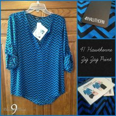 41 hawthorn - have this blouse in another print.  love the fit. cool chevron stripes on this one.