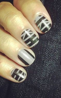 Black and white nail art illustrates one of several black and white graphic patterns and textures that will be strong in the home decor market for 2014.