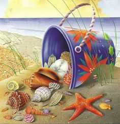 Ever Moment Diamond Painting Starfish Shell Beach Handmade Full Square Drill DIY Rhinestone Diamond Embroidery Tropical Christmas, Beach Christmas, Decoupage, Painted Shells, Sea Art, Step By Step Painting, Beach Crafts, Beach Scenes, Painted Rocks