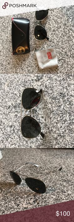 RayBan • Silver Aviator Sunglasses Worn once, not a good look for my face shape. Includes original case and dust cloth as shown. No lens scratches or other imperfections. Not polarized Ray-Ban Accessories Sunglasses