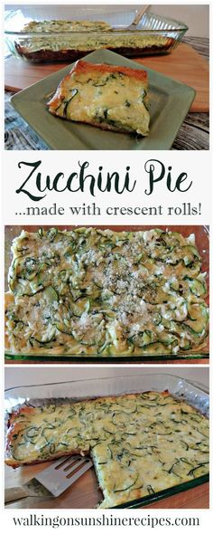 Zucchini Pie with Crescent Roll Crust Your family is going to love this easy recipe for zucchini pie that uses crescent rolls instead of pie crust from Walking on Sunshine. Side Dish Recipes, Vegetable Recipes, Vegetarian Recipes, Cooking Recipes, Healthy Recipes, Side Dishes, Chef Recipes, Bread Recipes, Main Dishes