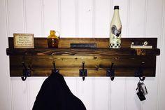 5 Hook Rustic Coat Rack With Shelf.