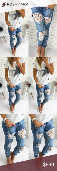 Coming Soon! Destroyed Ripped Jeans ! Hole Denim Flower Pants Boyfriend Jeans! Sexy and super comfortable! Jeans Boyfriend