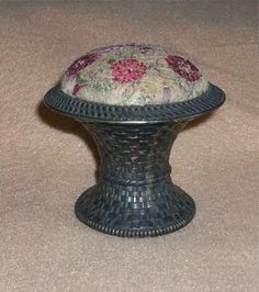 Victorian Silver Plate Woven Basket Pin Cushion w/Silk Embroidery Top