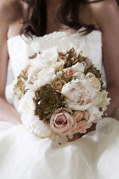 Rose, peony, dahlia and hydrangea bouquet.