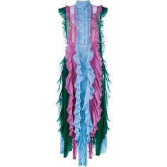 Gucci plissé dress (87,195 MXN) ❤ liked on Polyvore featuring dresses, gucci, dragonfly dress, multi colored dress, embroidered dress, blue slip dress and mandarin-collar dresses