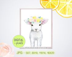 Baby Lamb Print Farm Animal Girl Nursery Decor Mint Pink Floral Lemons Animal Wall Art Girl Room Watercolor Painting Sheep Art #wallart #farm #etsy