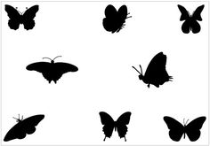 Flying Butterfly #Silhouette #Vector Graphics #clipart