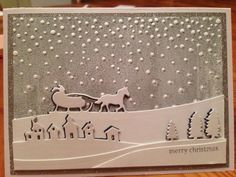 Stampin up Sleigh Ride edgelits with shadows- an idea from Tami White. Softly Falling embossing folder, brayered in smoky slate. By Inga Herrmann
