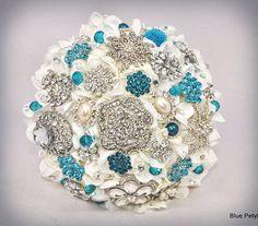 Turquoise Hydrangea jeweled flower bouquet by Blue Petyl