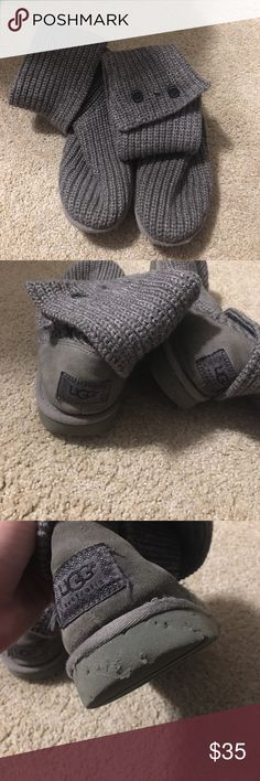 Grey knit Uggs These are well-loved but still in pretty good shape. The imperfection is pictured...my dog got a hold of them :/. Size 4 in kids but fit a size 6 in women's UGG Shoes Winter & Rain Boots