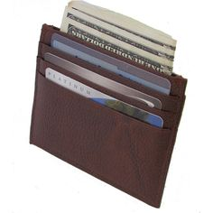 Continental Leather Slim/ Thin Front Pocket Card Holder Wallet ($19) ❤ liked on Polyvore featuring men's fashion, men's bags, men's wallets, accessories, wallets, brown, mens brown leather wallet, mens card case wallet, mens front pocket wallet and mens slim wallet