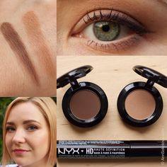 #NYX Hot Singles Eye Shadow #HS28 Guilt Trip (left), #HS42 Strike A Pose (right), NYX HD Eyeshadow Base