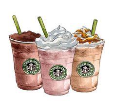 Art Decor Starbucks Coffee Watercolor by LadyGatsbyLuxePaper