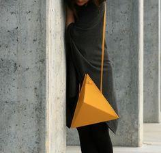 Triangle Bag | by IF irinaflorea | geometric | minimalist | leather | yellow | https://www.facebook.com/irinafloreadesign/