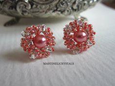 Blush Pink Stud Pearl Stud Earrings Wire Wrap by MARTINELICRYSTALS Swarovski Crystal Earrings, Pearl Stud Earrings, Seed Bead Earrings, Pearl Studs, Boho Earrings, Wire Wrapped Earrings, Blush Pink, Bohemian, Beads