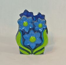 Vintage Plastic Lucite NAPKIN HOLDER Blue and Green Flowers MOD Pop