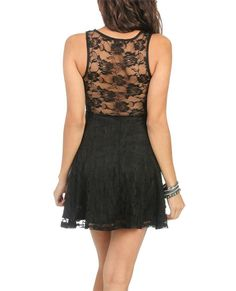 Lace Back Skater Dress (Black). Wet Seal. $29.50