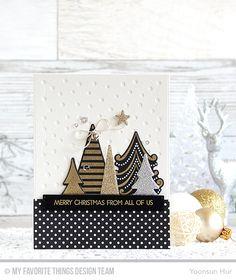 Oh Christmas Trees Stamp Set and Die-namics, Merry Everything Stamp Set, Snowfall - Vertical Die-namics, Blueprints 29 Die-namics - Yoonsun Hur  #mftstamps