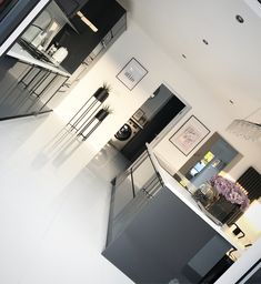 White Kitchen Floor, One Wall Kitchen, Kitchen Wall Storage, Gray And White Kitchen, Black Kitchen Cabinets, Gloss Kitchen, Open Plan Kitchen Dining Living, Living Room Kitchen, Home Decor Kitchen
