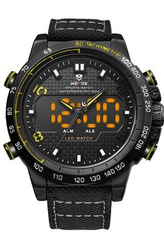 Analog Led Digital Watch WH6102B from Weide in yellow_1