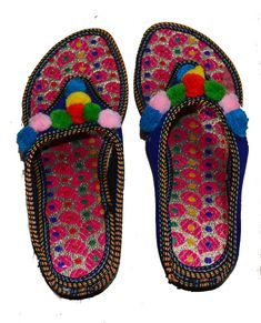 44fefd05634b NEW US SIZE 8 WOMEN S DOUBLE EMBROIDERY SANDAL PUNJABI FLAT SLIPPERS INDIAN   fashion  clothing