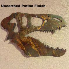 Metal Dinosaur Head, Dinosaur Fossil, Dino Skeleton, Metal Art, Jurrassic Park, Jurrassic World, Chris Pratt, T-rex, Boys Room Decor, by IronWolfMetalworking on Etsy https://www.etsy.com/listing/244673900/metal-dinosaur-head-dinosaur-fossil-dino