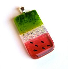 Watermelon fused dichroic glass pendant, pink green gold with seeds of course