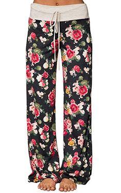 92d59712e Angashion Women's High Waist Casual Floral Print Drawstring Wide Leg Pants  at Amazon Women's Clothing store: