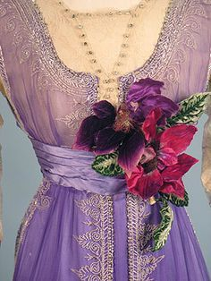 c. 1912 Incredible Bright Lavender Chiffon and Silk Satin Edwardian Gown with Crystal Beading and Beaded Fringe. Detail front