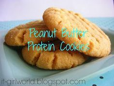 Makes 8 Cookie = Plan accordingly! :DIngredients: 1 Cup of Peanut Butter 1 scoop protein powder (I used Shakeology) 1 egg white 1 Tsp coconut oil 1 Tsp of Cinnamon 1 Tsp of Vanilla Dark Chocolate topp (Homemade Butter Peanut) Peanut Butter Protein Cookies, Healthy Cookies, Healthy Baking, Healthy Desserts, Paleo Dessert, Healthy Food, Sin Gluten, Protein Powder Recipes, Protein Recipes