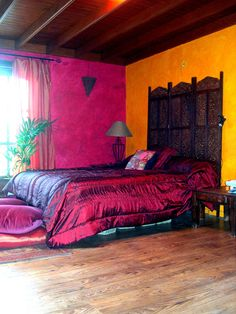 boho gypsy, moroccan bedroom, bedroom themes, new room, morocco style, yellow walls, wall colours, red rooms, color swatches