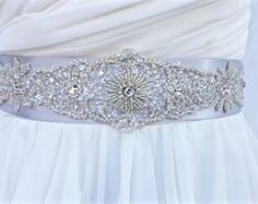 Beaded Bridal Sash-Wedding Sash In Silver Grey ,Beaded Sash, Wedding Dress Sash…