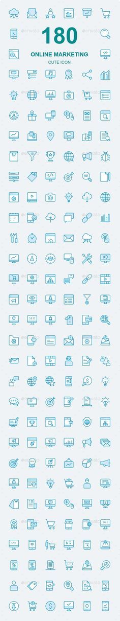 150+ Online Marketing Cute Style icons — Photoshop PSD #megaphone #bag • Available here ➝ https://graphicriver.net/item/150-online-marketing-cute-style-icons/20831916?ref=pxcr