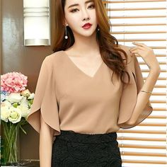 Elegant Office Lady Butterfly Sleeve Split Trim V-Neck Solid Blouse Lady Women Tops And Blouses Indian Blouse Designs, Sleeves Designs For Dresses, Fashion Designer, Simple Shirts, Blouse Styles, Blouses For Women, Chiffon Tops, Chiffon Shirt, Fashion Dresses