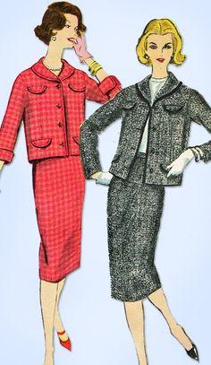 1950s Vintage Vogue Sewing Pattern 9661 Misses 2 Piece Boxy Suit Size 14 34 B
