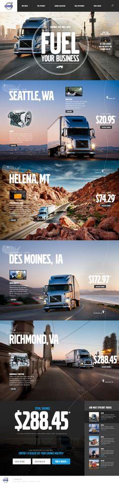 Volvo Trucks website Designed by Megan Man / 이런 모양의 이유는 모르겠지만, 멋들어진 일러스트 혹은 이미지를 볼 때마다, 포토샵과 일러스트레이터 활용 능력을 좀 더 키워야겠단 의지가 물씬 샘솟는다.