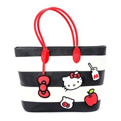 Hello Kitty Shoulder Tote Bag Black White ($75) ❤ liked on Polyvore featuring bags, handbags, tote bags, black and white handbags, white and black purse, hello kitty tote bag, white and black handbags and hello kitty