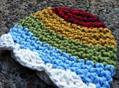 Organic Crochet Rainbow Cloud Baby Girl Hat Would make a great photography prop.