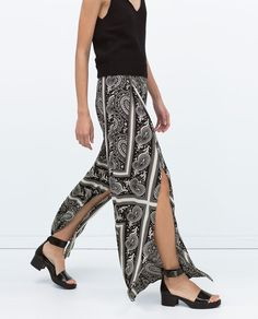 ZARA - NEW THIS WEEK - WIDE PRINTED TROUSERS