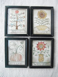 Primitive Paintings of  the 4 Seasons by primitivehand on Etsy, $178.00