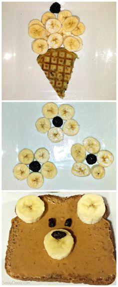 Fun & Creative Banana Breakfast Ideas For Kids (teddy bear toast, banana flowers, waffle ice cream cone) | http://www.sassydealz.com/2014/01/fun-banana-breakfast-ideas-for-kids.html
