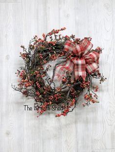Ships Free, Farmhouse Berry Wreath, Wreaths, Front Door Wreath, Country Wreath, Fall Wreath, Everyday Wreath, Country Home Decor, Door Decor