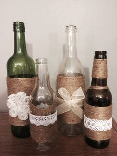 5 Twine wrapped wine bottles with lace/ribbon by tinkcreations28