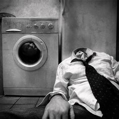 This is a very interesting surreal photo montage. They took the head off of the person and put it inside the washing machine. This is a very artistic interpretation of a washing machine and it really works for the intended use. The photos fit together really well.