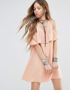 Dress with cold shoulder ruffle by Young Bohemians. Dress by Young Bohemians, Textured woven fabric, Lace-up front, Cold-shoulder design, Frill trim, Regular fit - true ...